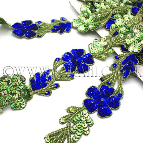 GREEN BLUE SEQUIN FLORAL TRIM  - sarahi.NYC - Sarahi.NYC