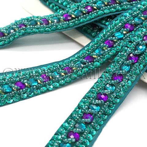 GREEN PURPLE RHINESTONE TRIM - sarahi.NYC - Sarahi.NYC