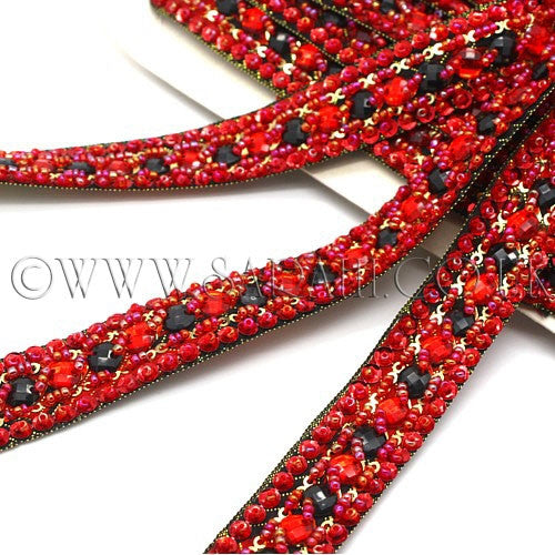 RED BLACK RHINESTONE TRIM - sarahi.NYC - Sarahi.NYC
