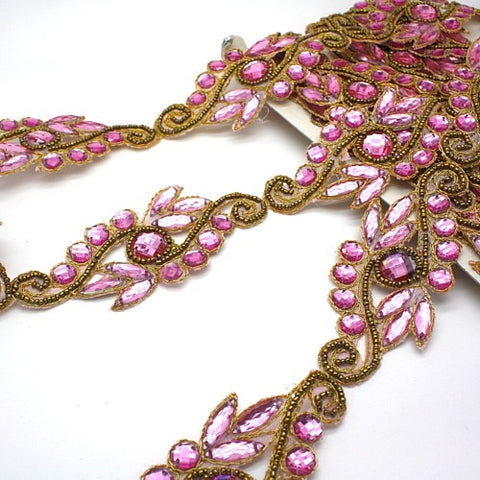 LIGHT PINK GOLD RHINESTONE  TRIM - sarahi.NYC - Sarahi.NYC