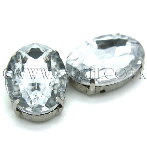PACK OF 2 -  LARGE OVAL DROP  SEW ON RHINESTONE EMBELLISHMENT - sarahi.NYC - Sarahi.NYC