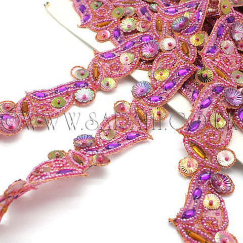 PINK PURPLE FLOWER BEADED TRIM - sarahi.NYC - Sarahi.NYC