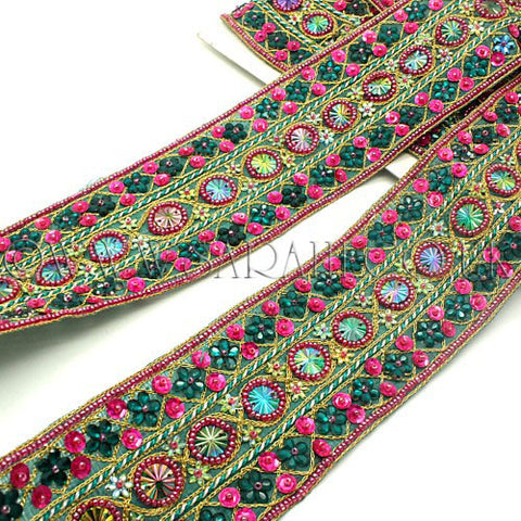 PINK GREEN RHINESTONE BEADED FABRIC TRIM - sarahi.NYC - Sarahi.NYC