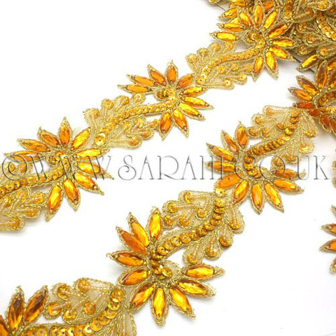 GOLD/YELLOW BEADED RHINESTONE TRIM - sarahi.NYC - Sarahi.NYC
