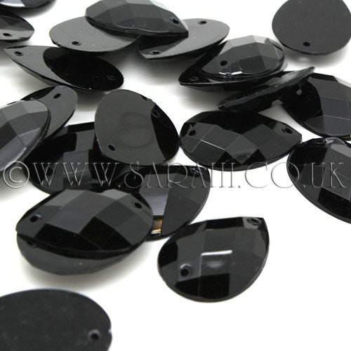 PACK OF 10 - TEARDROP 25 mm BLACK FLAT  RHINESTONE GEMS - sarahi.NYC - Sarahi.NYC