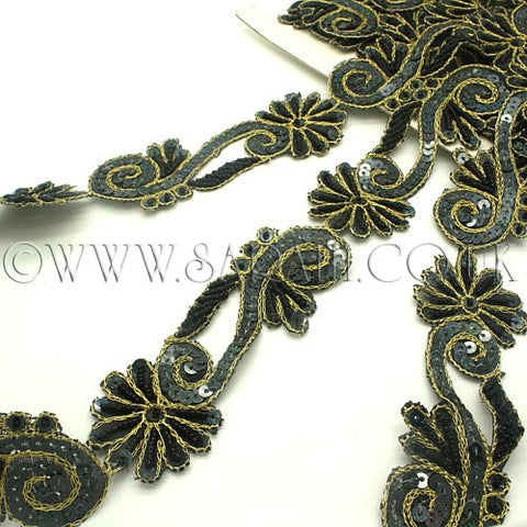 BLACK GOLD FLORAL SEQUIN BEADED TRIM - sarahi.NYC - Sarahi.NYC