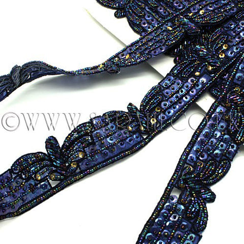 BLUE BEADED SEQUIN TRIM - sarahi.NYC - Sarahi.NYC