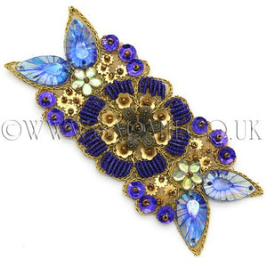 BLUE GOLD METALLIC RHINESTONE TRIM - sarahi.NYC - Sarahi.NYC