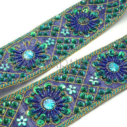 BLUE GREEN SEQUIN GEM TRIM - sarahi.NYC - Sarahi.NYC