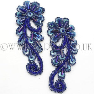 BLUE BEADED APPLIQUE PAIR - sarahi.NYC - Sarahi.NYC