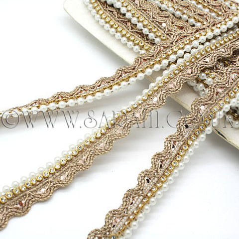 GOLD BRONZE PEARL CRYSTAL EDGING TRIM - sarahi.NYC - Sarahi.NYC