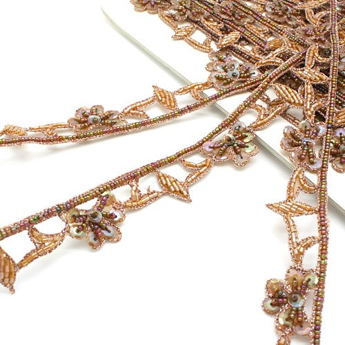 BROWN BEADED SEQUIN TRIM - sarahi.NYC - Sarahi.NYC