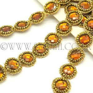 BROWN CIRCLE RHINESTONE TRIM - sarahi.NYC - Sarahi.NYC