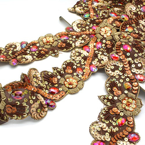 BROWN SEQUIN RHINESTONE TRIM - sarahi.NYC - Sarahi.NYC