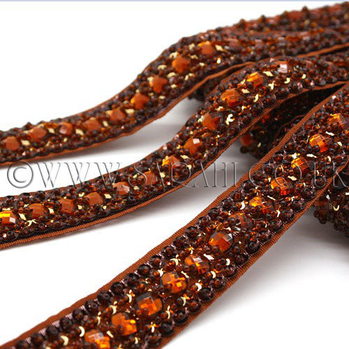 BROWN RHINESTONE BEADED TRIM - sarahi.NYC - Sarahi.NYC