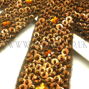 BROWN SEQUIN RIBBON TRIM - sarahi.NYC - Sarahi.NYC