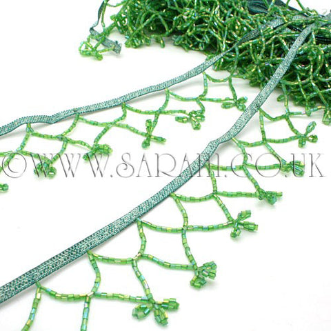 GREEN BEADED FRINGE TRIM - sarahi.NYC - Sarahi.NYC