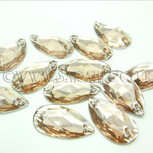 PACK OF 10 - TEARDROP 28 mm FLAT BACK LIGHT PEACH RHINESTONE GEMS - sarahi.NYC - Sarahi.NYC