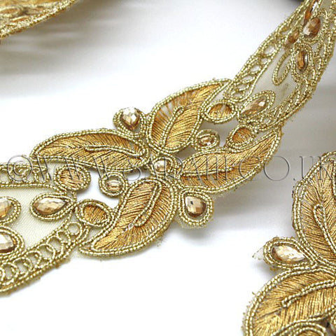 GOLD EMBROIDERY RHINESTONE FABRIC TRIM - sarahi.NYC - Sarahi.NYC
