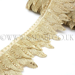GOLD FEATHER STYLE RHINESTONE  TRIM - sarahi.NYC - Sarahi.NYC