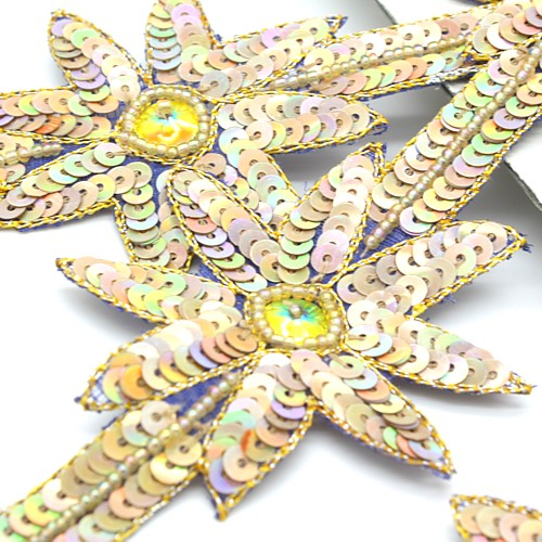 GOLD IRIDESCENT SEQUIN WILD FLOWER TRIM - sarahi.NYC - Sarahi.NYC