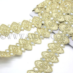 GOLD MIRROR PEARL FABRIC TRIM - sarahi.NYC - Sarahi.NYC