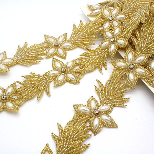 GOLD FLORAL BEADED PEARL TRIM - sarahi.NYC - Sarahi.NYC