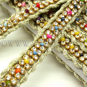 GOLD MULTI BEADED CRYSTAL TRIM - sarahi.NYC - Sarahi.NYC
