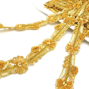 YELLOW GOLD SEQUIN FLOWER TRIM - sarahi.NYC - Sarahi.NYC