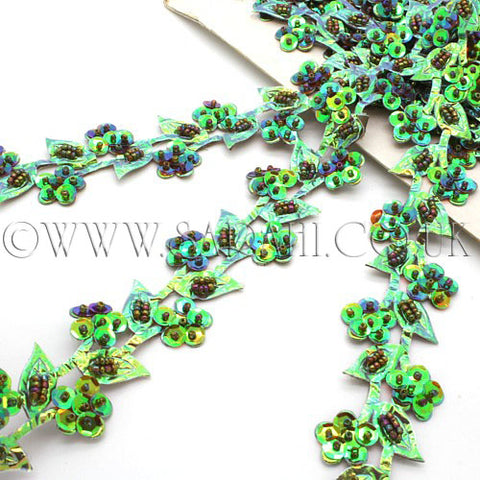 SEA GREEN FLORAL  TRIM - sarahi.NYC - Sarahi.NYC