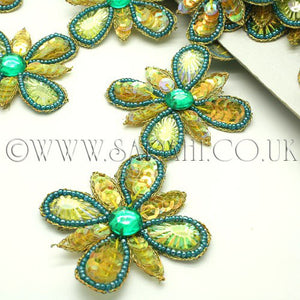 YELLOW GREEN FLOWER RHINESTONE  TRIM - sarahi.NYC - Sarahi.NYC