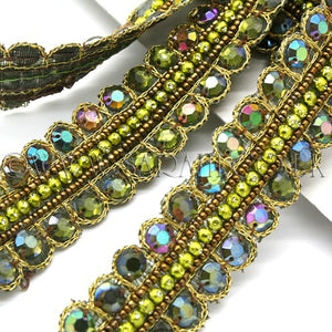 1.5 yards - OLIVE GREEN RHINESTONE BEADED TRIM - sarahi.NYC - Sarahi.NYC