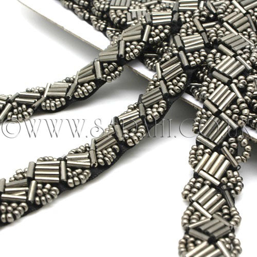 GUNMETAL BEADED BUGLE  TRIM - sarahi.NYC - Sarahi.NYC