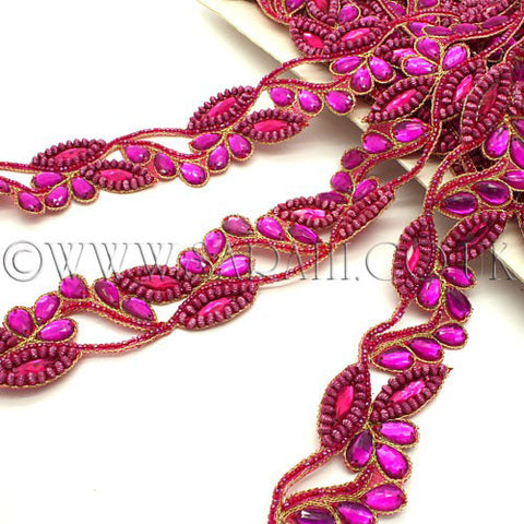 HOT PINK RHINESTONE SEQUIN BEADED FLORAL TRIM - sarahi.NYC - Sarahi.NYC