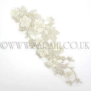 IVORY FLORAL  NET BEADED APPLIQUE - sarahi.NYC - Sarahi.NYC