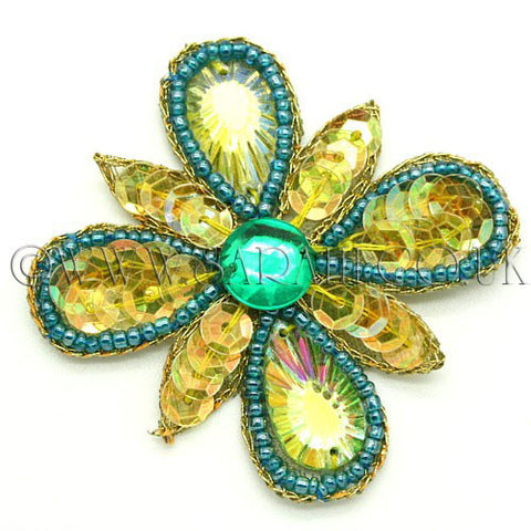 YELLOW GREEN SEQUIN  FLOWER MOTIF - sarahi.NYC - Sarahi.NYC