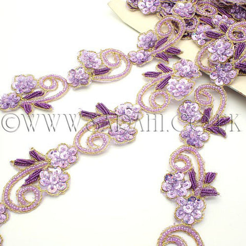 LILAC PURPLE FLORAL SEQUIN AND BEADED TRIM - sarahi.NYC - Sarahi.NYC