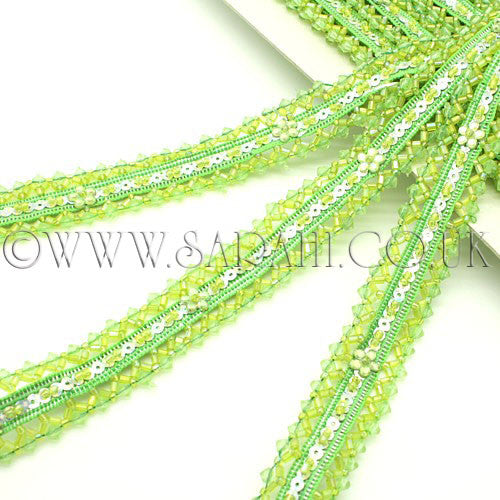 LIME GREEN BUGLE BEAD SEQUIN TRIM - sarahi.NYC - Sarahi.NYC