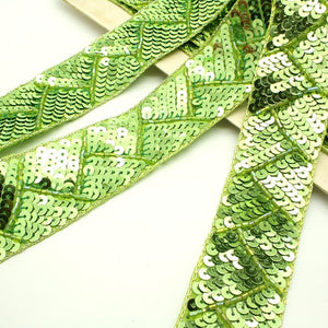 LIME GREEN  SEQUIN TRIM - sarahi.NYC - Sarahi.NYC