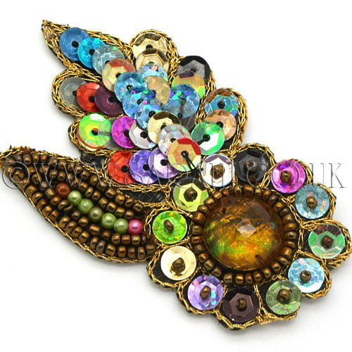 MULTI COLOR FLOWER LEAF RHINESTONE SEQUIN MOTIF - sarahi.NYC - Sarahi.NYC