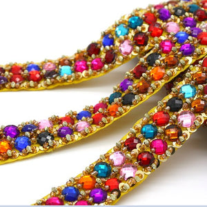 MULTI COLOUR  RHINESTONE BEADED RHINESTONE TRIM - sarahi.NYC - Sarahi.NYC