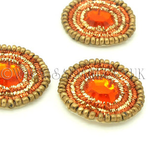 3 X ORANGE RHINESTONE GOLD CIRCLE MOTIFS - sarahi.NYC - Sarahi.NYC