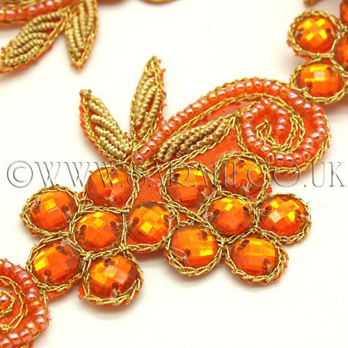 ORANGE FLORAL RHINESTONE  TRIM - sarahi.NYC - Sarahi.NYC