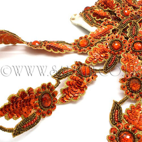 ORANGE FLORAL RHINESTONE BEADED TRIM - sarahi.NYC - Sarahi.NYC