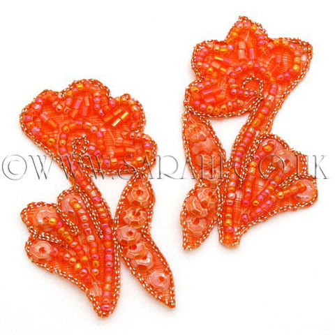 ORANGE BEADED FLORAL MOTIF PAIR - sarahi.NYC - Sarahi.NYC