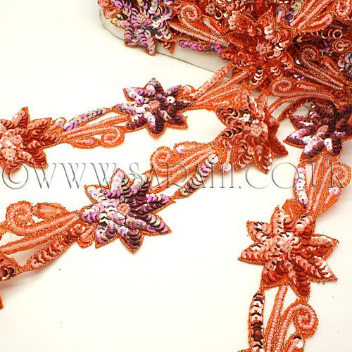 ORANGE PEACH FLORAL SEQUIN TRIM - sarahi.NYC - Sarahi.NYC