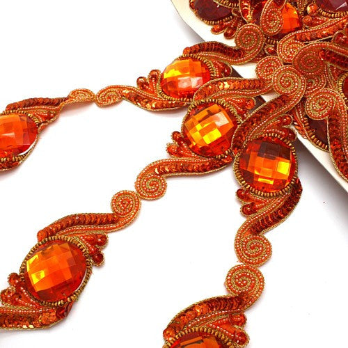 ORANGE SEQUIN RHINESTONE BEADED RHINESTONE TRIM - sarahi.NYC - Sarahi.NYC