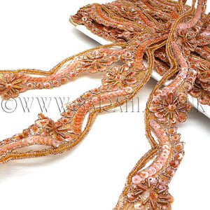 PEACH RUSTY SEQUIN  BEADED TRIM - sarahi.NYC - Sarahi.NYC