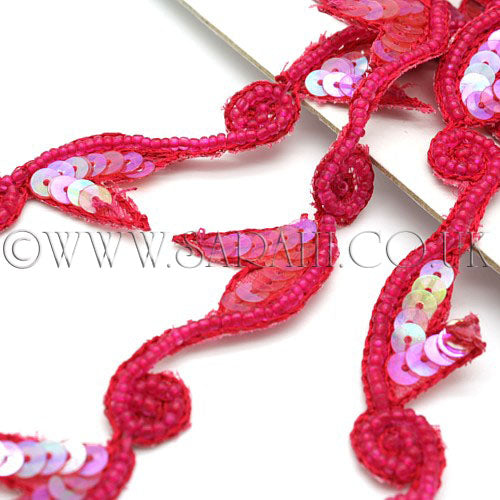 PINK CERISE  SEQUIN BEADED TRIM - sarahi.NYC - Sarahi.NYC