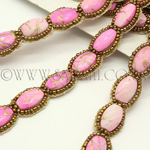 PINK STONE AND BEADED  TRIM - sarahi.NYC - Sarahi.NYC